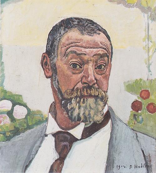 Hodler - Selbstbildnis mit Rosen - 1914 (Quelle: wikimedia)